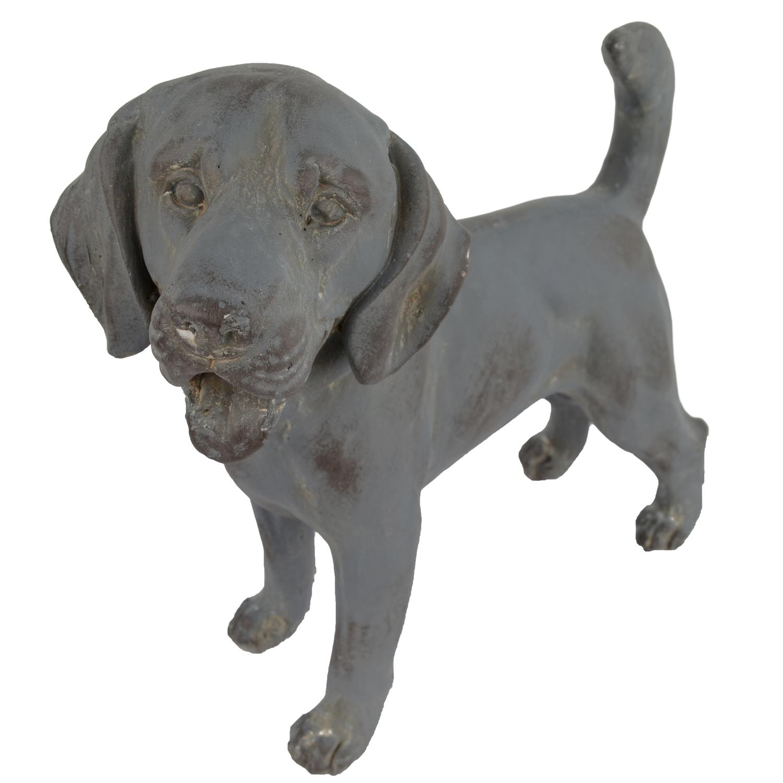 DOG STANDING 34CM BLUE IRON EFFECT DETAIL