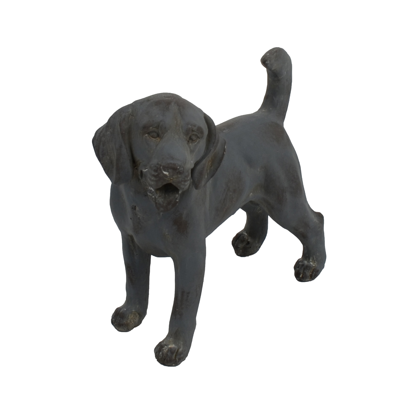 DOG STANDING 34CM BLUE IRON EFFECT FRONT LEFT