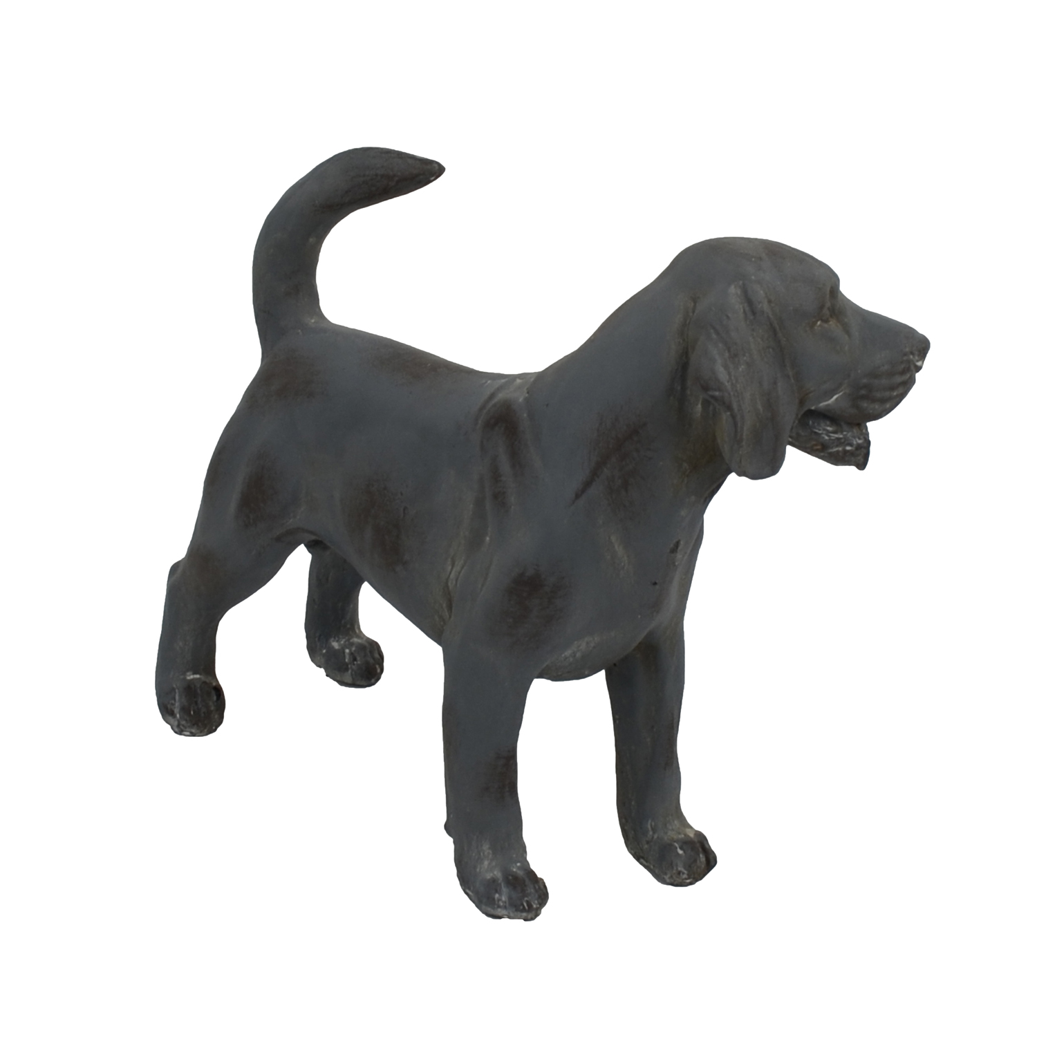 DOG STANDING 34CM BLUE IRON EFFECT FRONT RIGHT