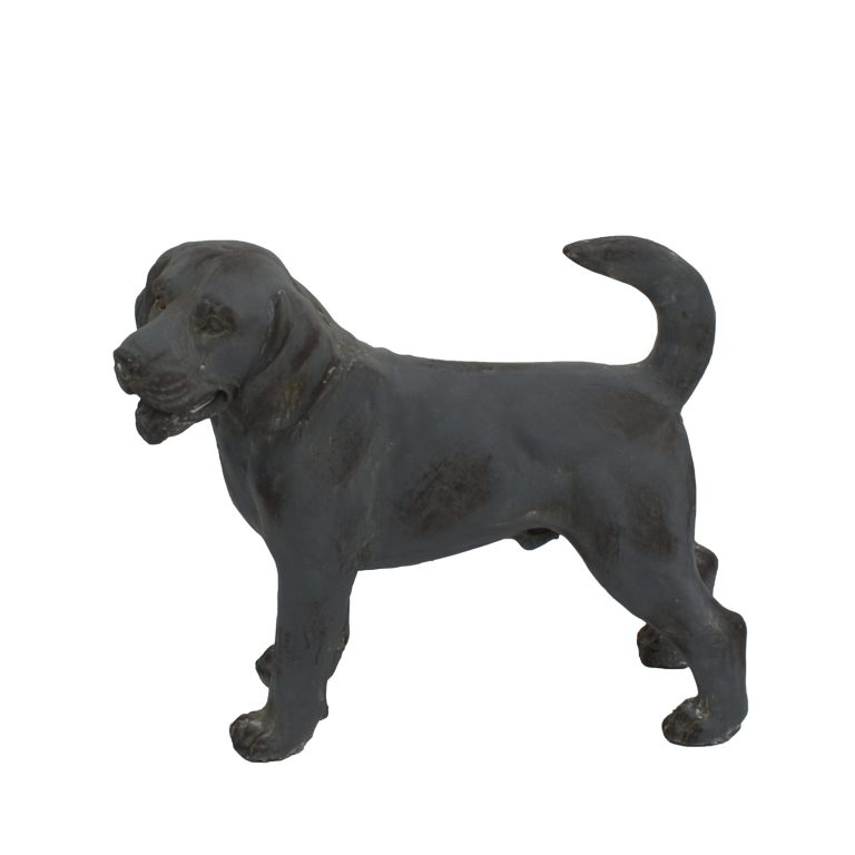 DOG STANDING 34CM BLUE IRON EFFECT LEFT