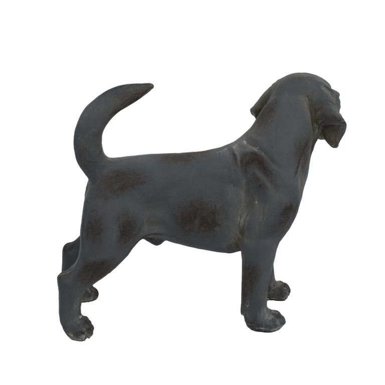DOG STANDING 34CM BLUE IRON EFFECT RIGHT