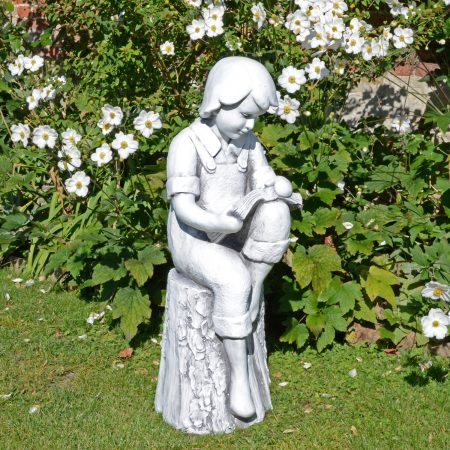 FINN READING BOY 88CM WHITE STONE EFFECT OUTDOOR
