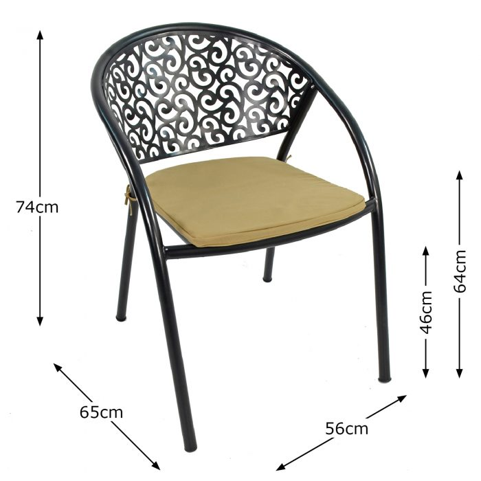FLORENCE CHAIR WITH CUSHION DIMENSION MS10