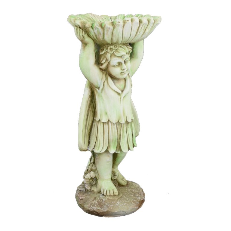 FLOWER FAIRY BIRDBATH 61CM TINTED STONE EFFECT FRONT RIGHT