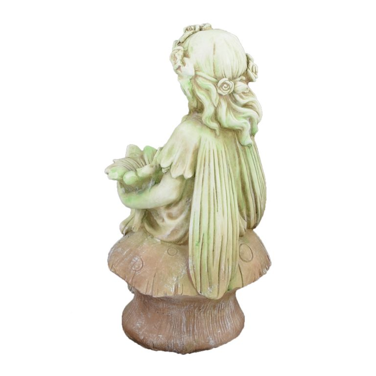 FLOWER FAIRY SITTING 56CM TINTED STONE EFFECT BACK LEFT