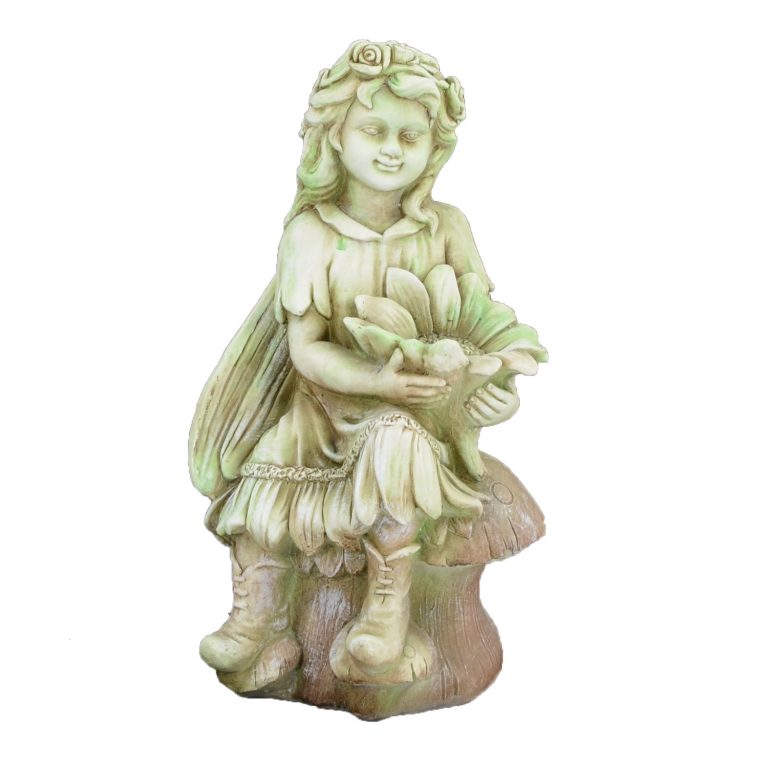 FLOWER FAIRY SITTING 56CM TINTED STONE EFFECT FRONT
