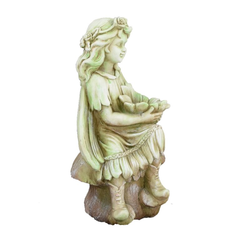 FLOWER FAIRY SITTING 56CM TINTED STONE EFFECT FRONT RIGHT