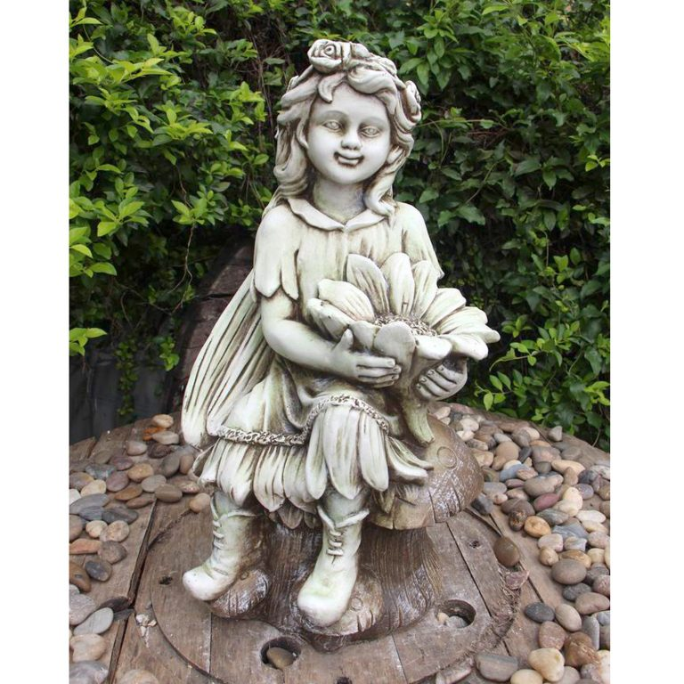 FLOWER FAIRY SITTING 56CM TINTED STONE EFFECT OUTDOOR