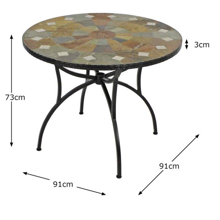 GRANADA 91CM PATIO TABLE DIMENSION MS1