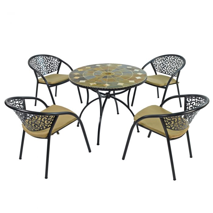 GRANADA 91CM PATIO WITH 4 FLORENCE CHAIRS SET WS1