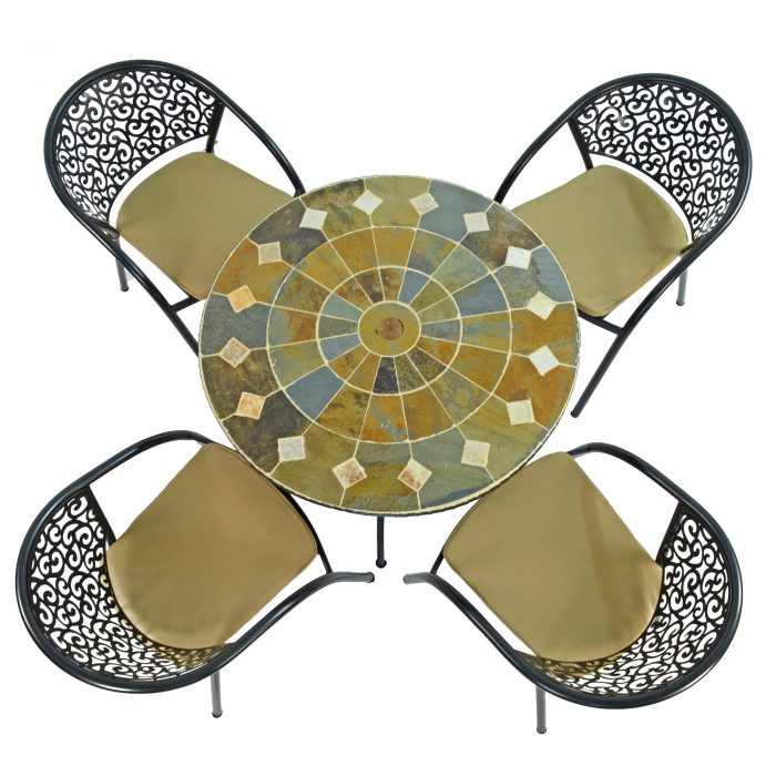 GRANADA 91CM PATIO WITH 4 FLORENCE CHAIRS SET WS2