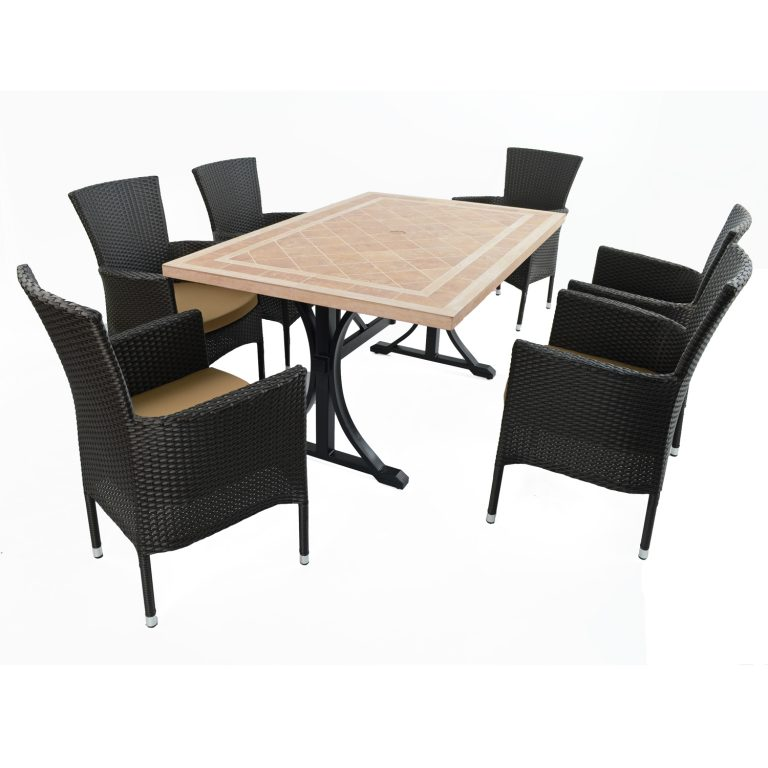 HAMPTON DINING TABLE WITH 6 STOCKHOLM BROWN CHAIR SET
