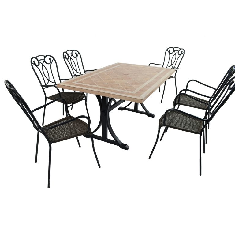 HAMPTON DINING TABLE WITH 6 VERONA CHAIR SET
