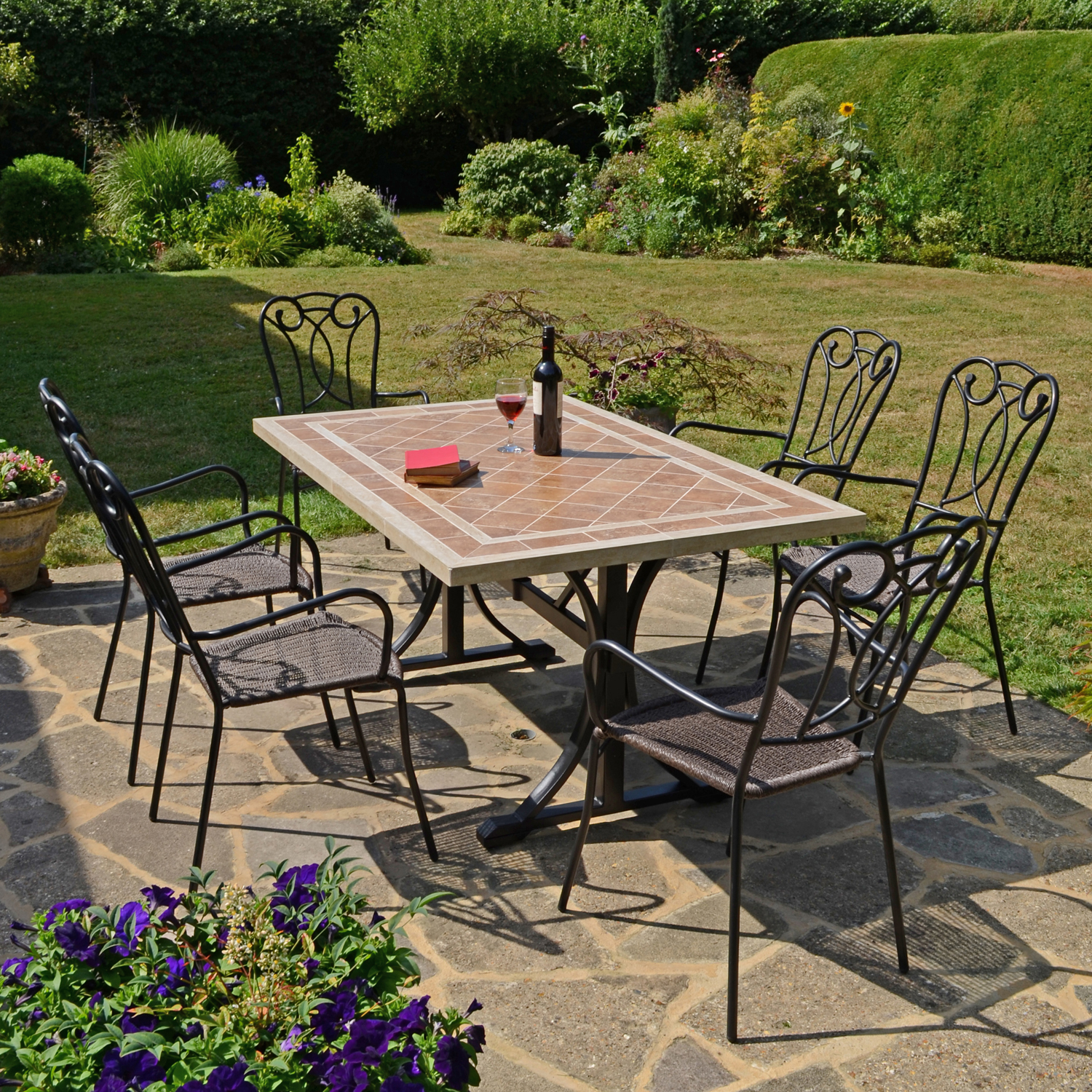 HAMPTON DINING TABLE WITH 6 VERONA CHAIR SET OUTDOOR
