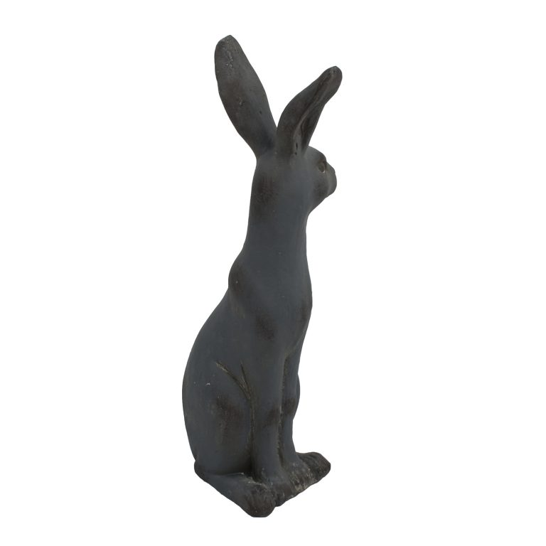 HARE SITTING 61CM BLUE IRON EFFECT FRONT RIGHT