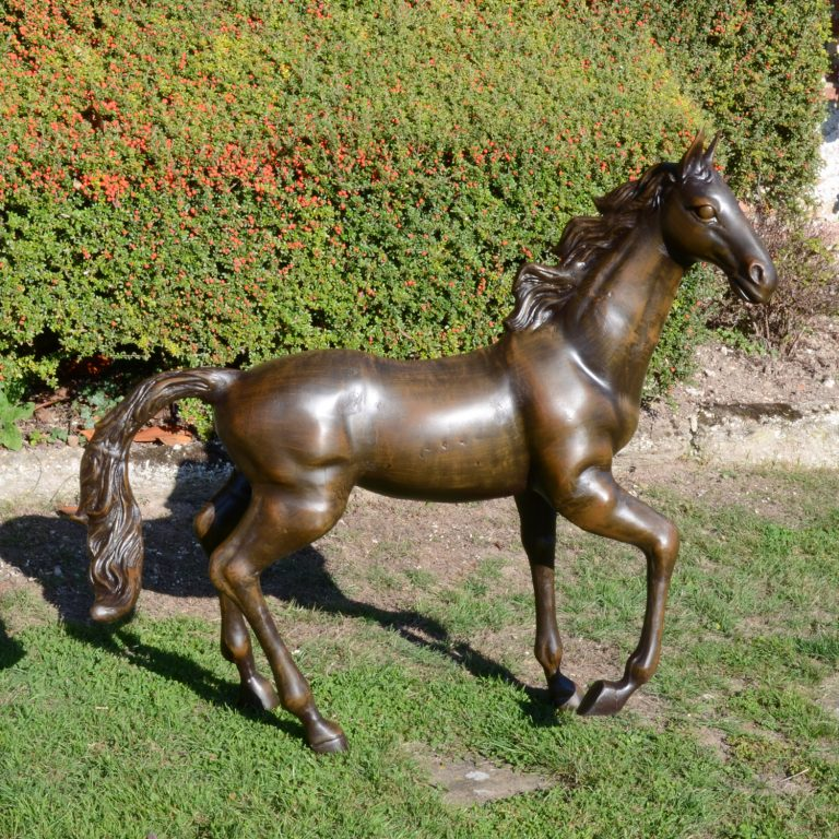 HORSE 105CM ALUMINIUM DARK BRONZE EFFECT OUTDOOR