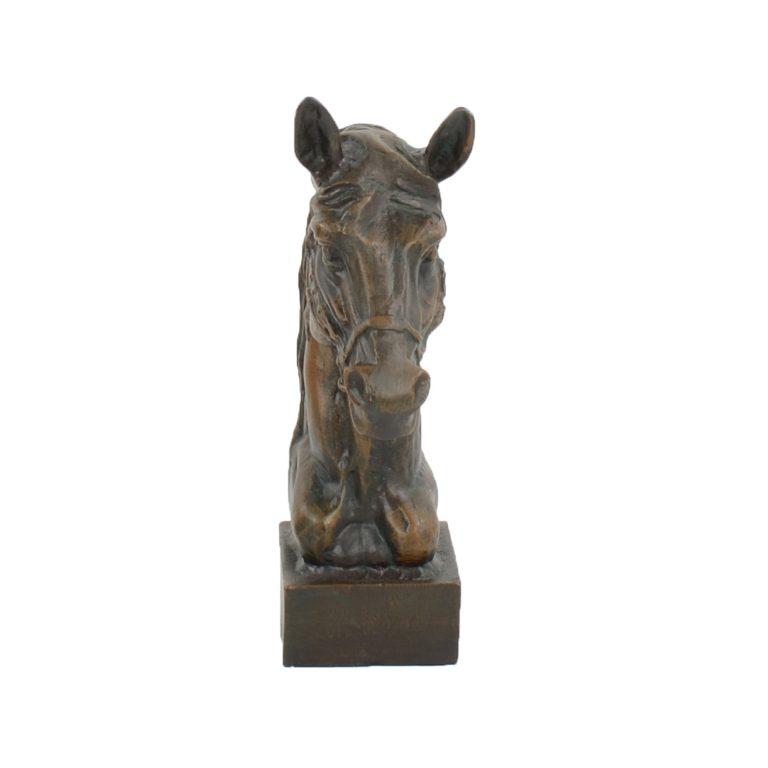 HORSE HEAD 41CM ALUMINIUM DARK VERDIGRIS FRONT