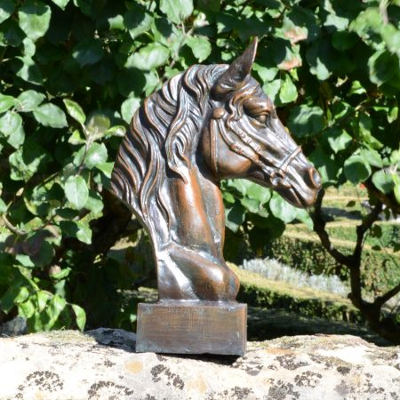 HORSE HEAD 41CM ALUMINIUM DARK VERDIGRIS OUTDOOR 2