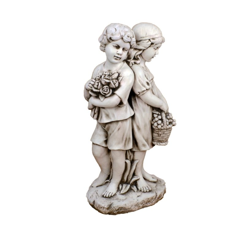 JACK JILL STANDING 89CM ANTIQUE STONE EFFECT FRONT RIGHT