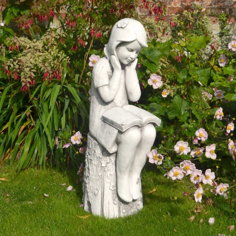 JULIE READING GIRL 86CM WHITE STONE EFFECT OUTDOOR