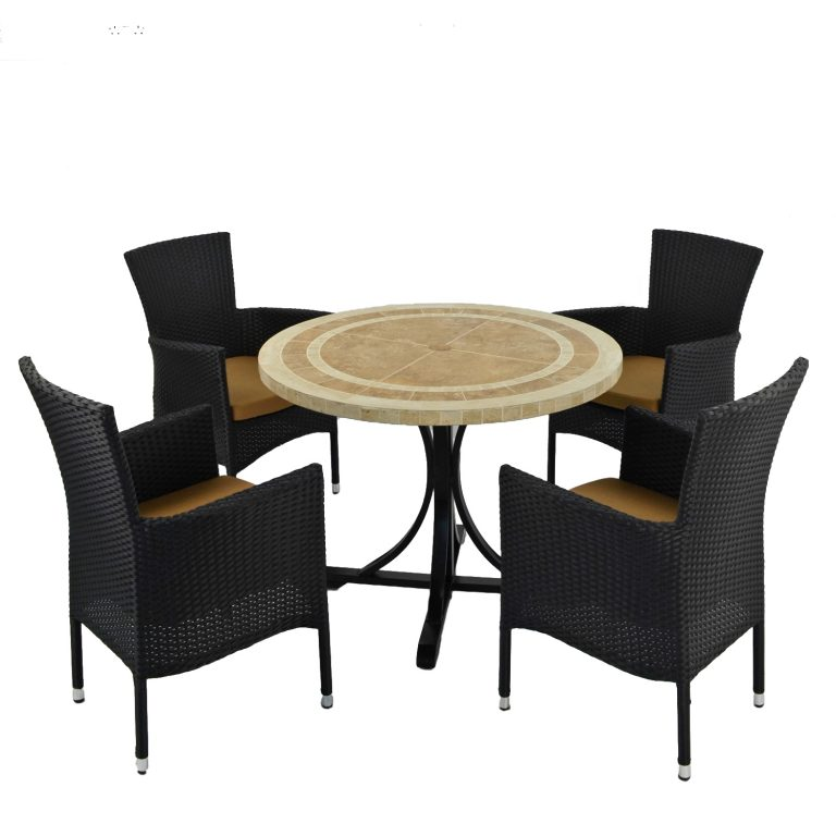 LANGLEY DINING TABLE WITH 4 STOCKHOLM BLACK CHAIR SET