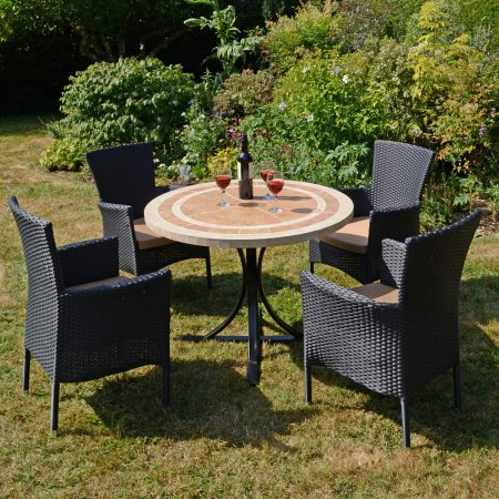 LANGLEY DINING TABLE WITH 4 STOCKHOLM BLACK CHAIR SET OUTDOOR