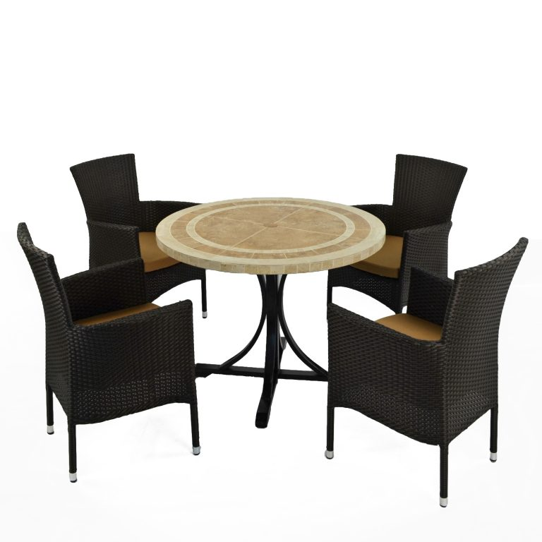 LANGLEY DINING TABLE WITH 4 STOCKHOLM BROWN CHAIR SET