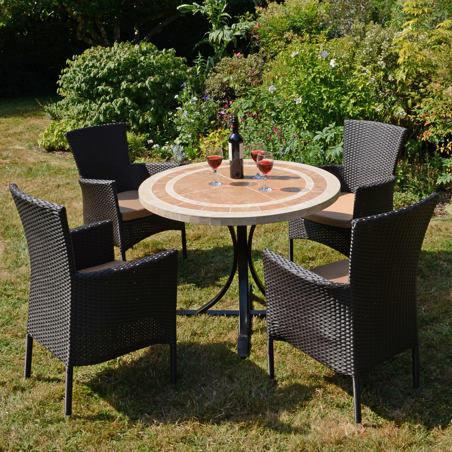 LANGLEY DINING TABLE WITH 4 STOCKHOLM BROWN CHAIR SET OUTDOOR