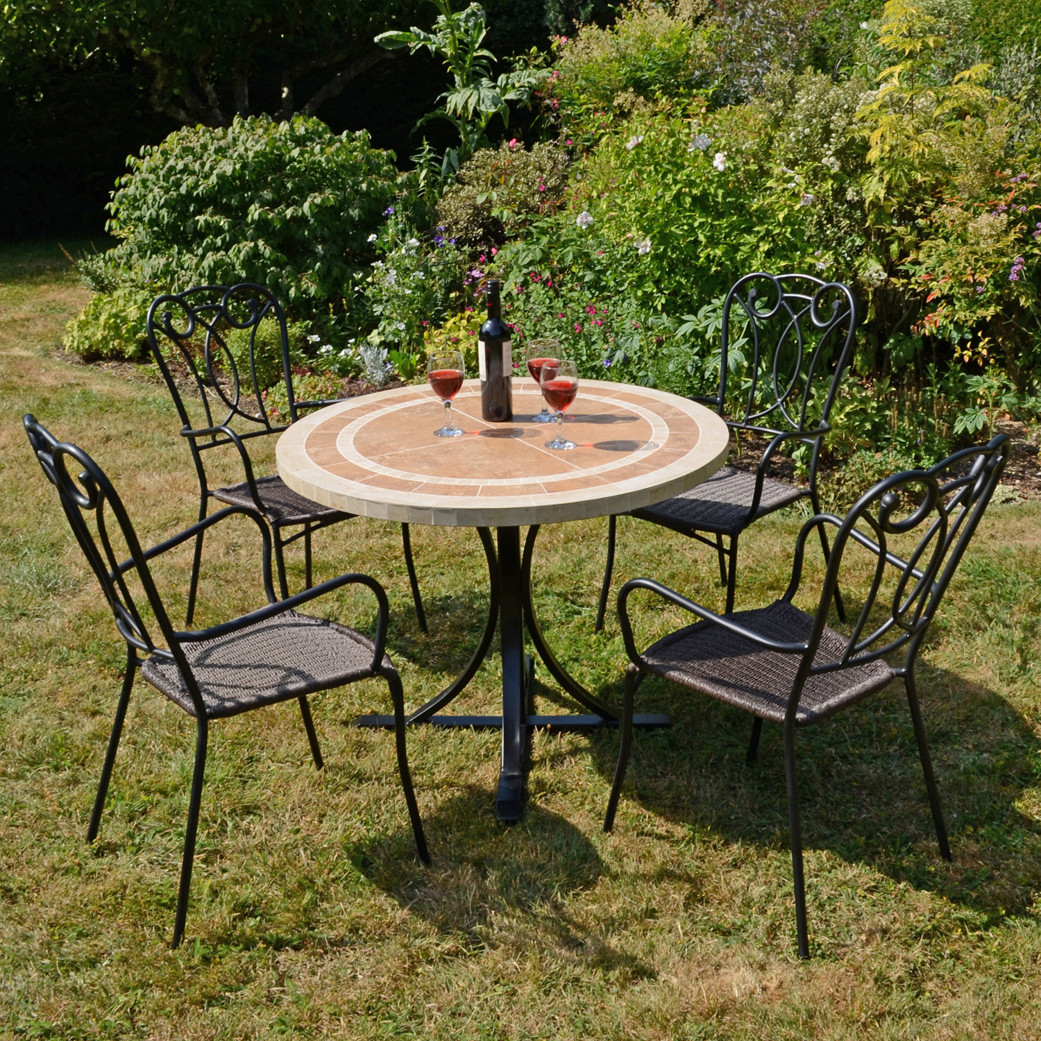 LANGLEY DINING TABLE WITH 4 VERONA CHAIR SET OUTDOOR