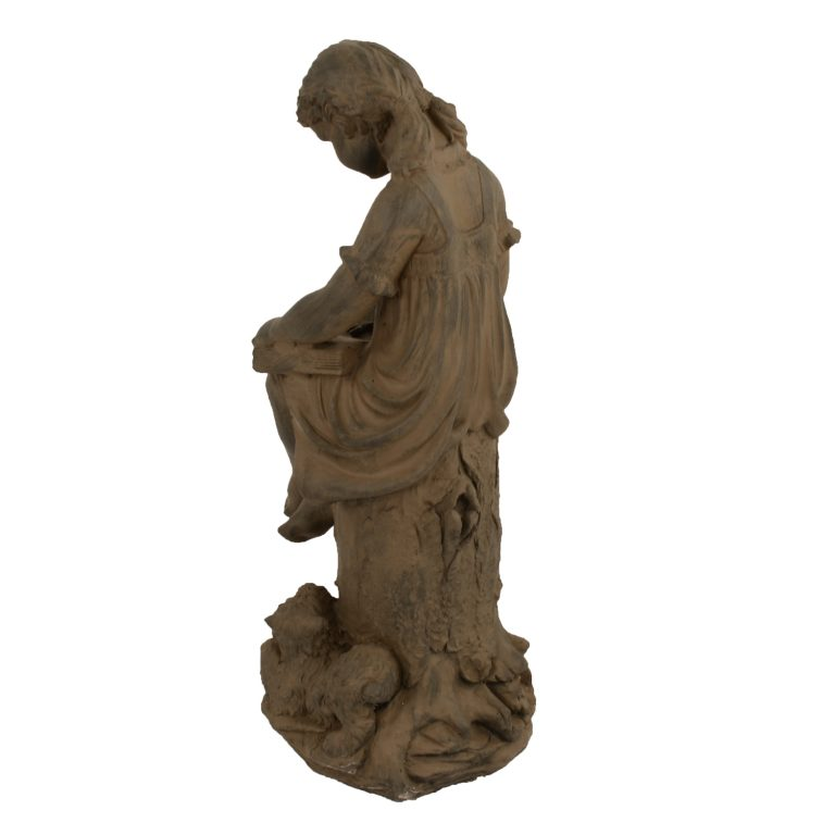 MARY READING GIRL 89CM RUST EFFECT BACK LEFT