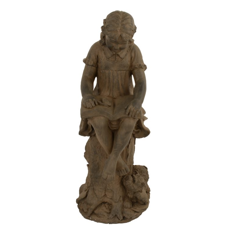 MARY READING GIRL 89CM RUST EFFECT FRONT