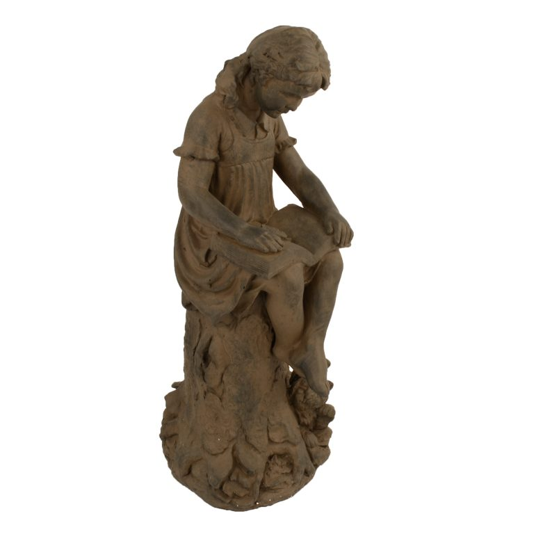 MARY READING GIRL 89CM RUST EFFECT FRONT RIGHT