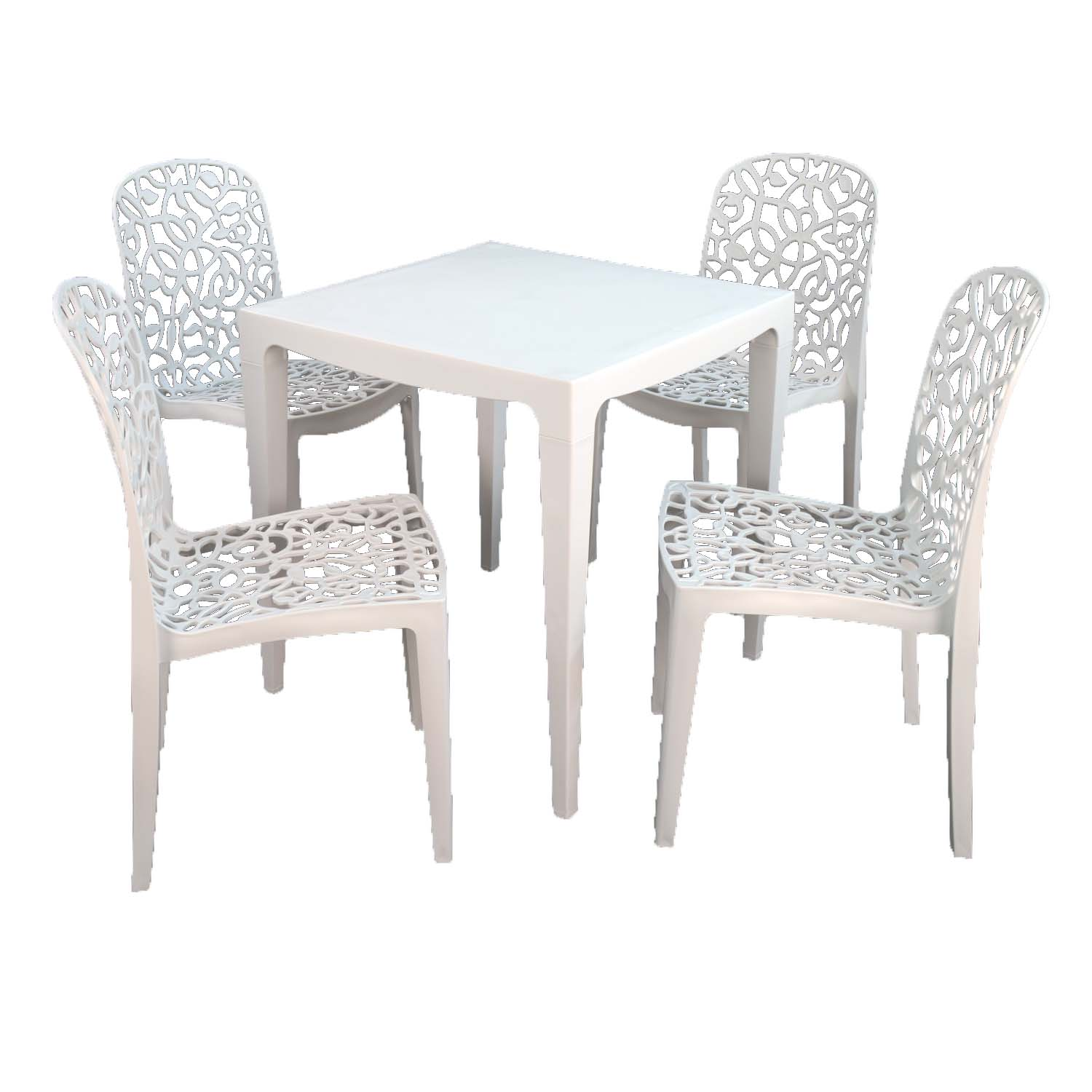 MASTER DINING TABLE WITH 4 FLEURA CHAIRS WHITE
