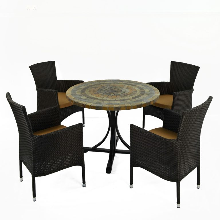 MONTEREY DINING TABLE WITH 4 STOCKHOLM BLACK CHAIR SET