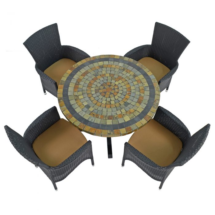 MONTEREY DINING TABLE WITH 4 STOCKHOLM BLACK CHAIRS SET WG1