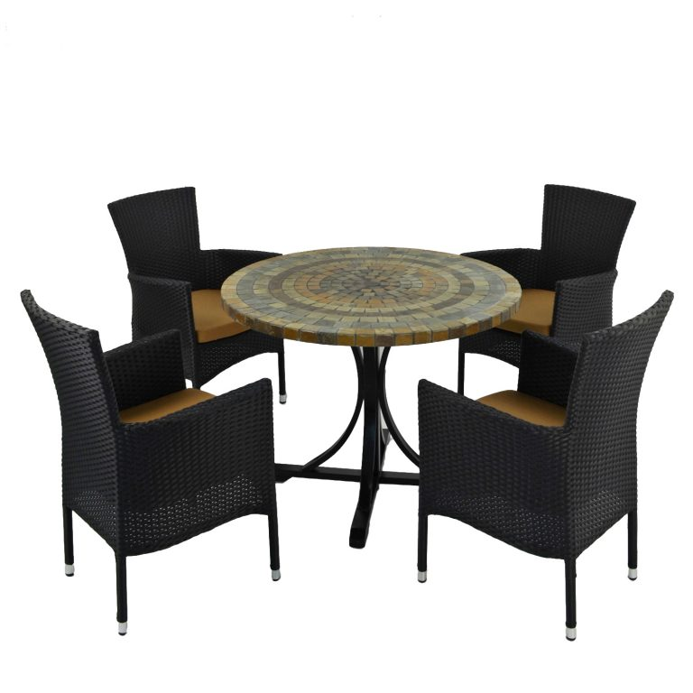 MONTEREY DINING TABLE WITH 4 STOCKHOLM BROWN CHAIR SET