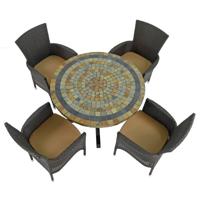 MONTEREY DINING TABLE WITH 4 STOCKHOLM BROWN CHAIRS SET WG1