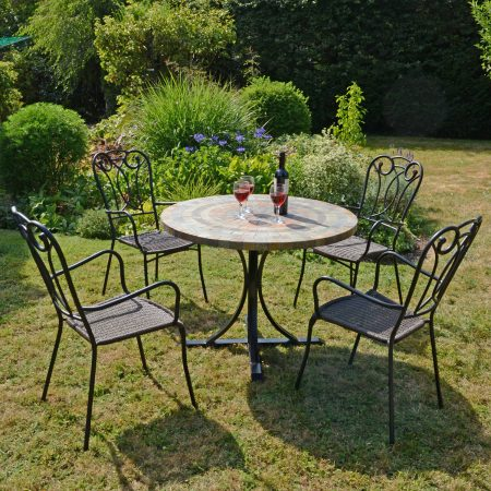 MONTEREY DINING TABLE WITH 4 VERONA CHAIR SET OUTDOOR
