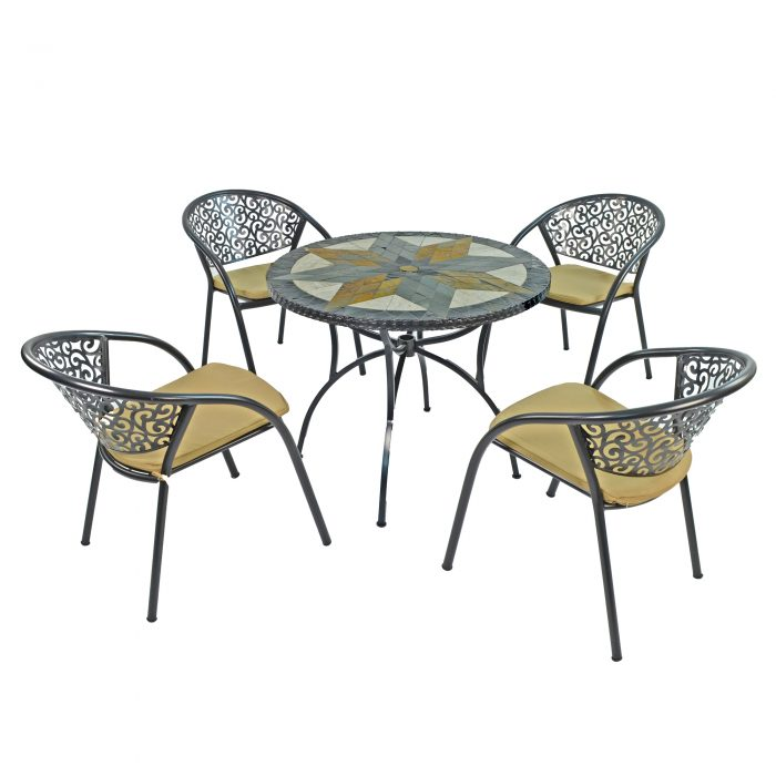 MONTILLA 91CM PATIO WITH 4 FLORENCE CHAIRS SET WS1