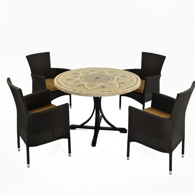 MONTPELLIER DINING TABLE WITH 4 STOCKHOLM BLACK CHAIR SET
