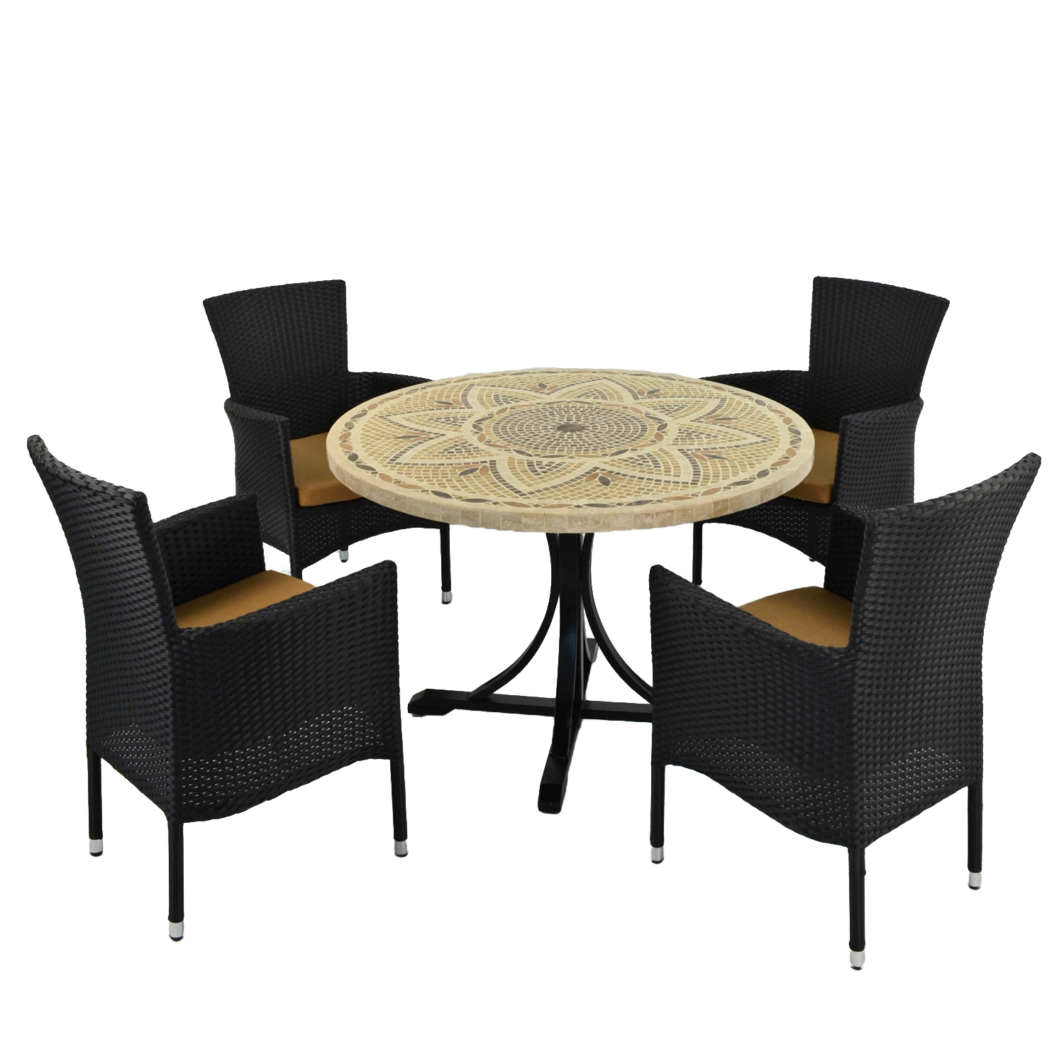 MONTPELLIER DINING TABLE WITH 4 STOCKHOLM BROWN CHAIR SET