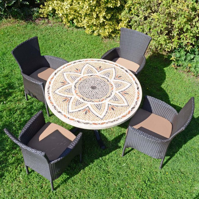 MONTPELLIER DINING TABLE WITH 4 STOCKHOLM BROWN CHAIRS SET LG1