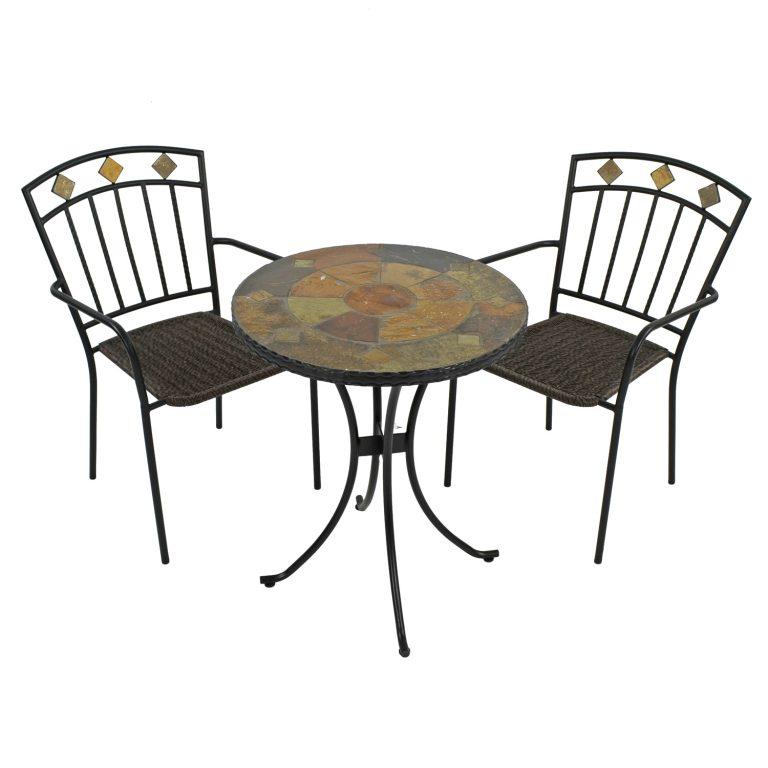 ONDARA 60CM BISTRO TABLE WITH 2 MALAGA CHAIR SET WG1