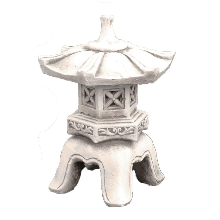 PAGODA LOW 40CM ANTIQUE STONE EFFECT FRONT RIGHT