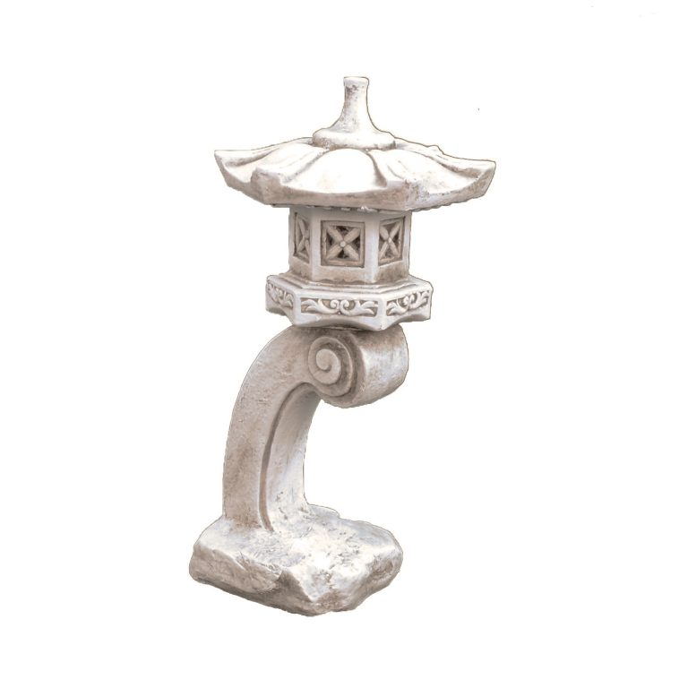 PAGODA TALL 59CM ANTIQUE STONE EFFECT FRONT RIGHT