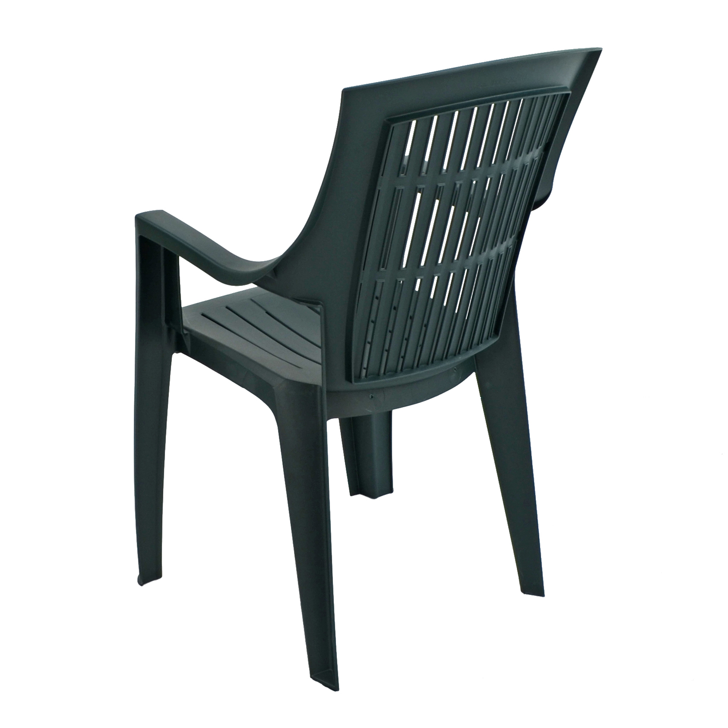 PARMA STACK CHAIR GREEN BACK LEFT