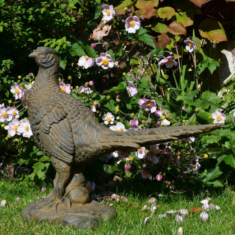 PHEASANT 49CM RUST EFFECT OUTDOOR2