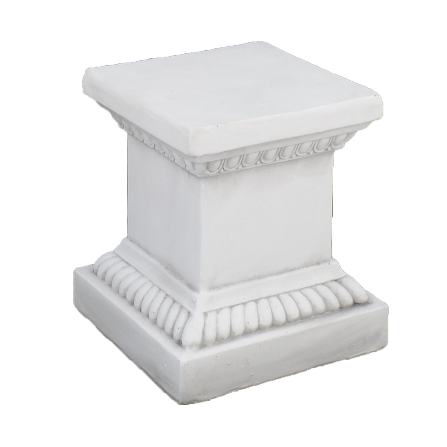 PLINTH SQUARE LOW 36CM WHITE STONE EFFECT FRONT RIGHT