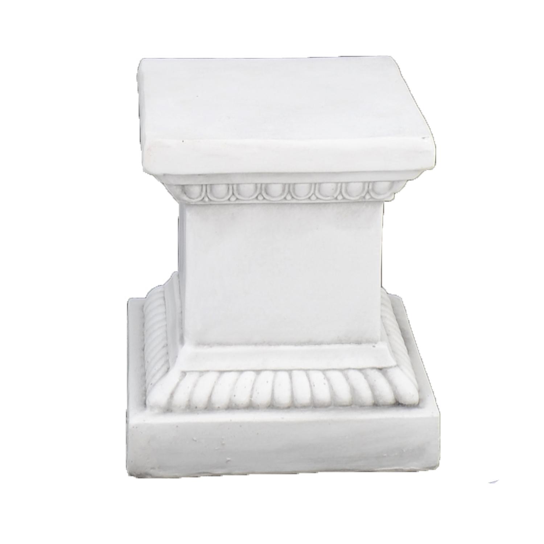 PLINTH SQUARE LOW 36CM WHITE STONE EFFECT FRONT