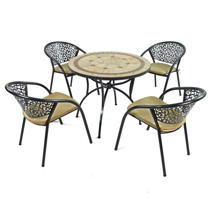 RICHMOND 91CM PATIO WITH 4 FLORENCE CHAIRS SET WS1